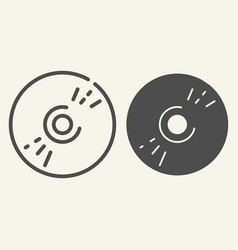 cd disc line and glyph icon data vector image