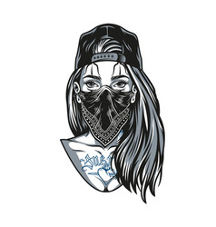 Chicano girl with tattoos and long hair vector