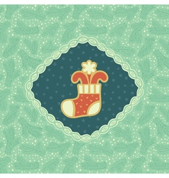 Christmas and New Year vintage ornate frame with vector image