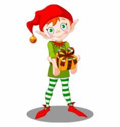 Christmas elf gift vector image vector image