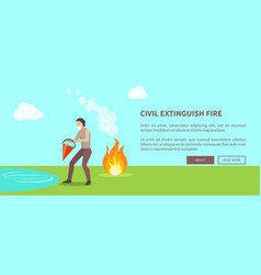 civil extinguish fire poster with text vector image