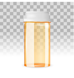 closed and empty pill bottle on the transparent vector image