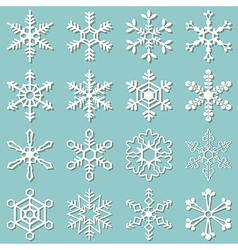Collection of 16 different snowflakes vector image