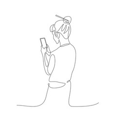 Continuous one line woman chatting with a vector