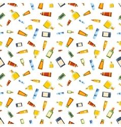 Cosmetics bottles seamless pattern vector