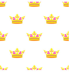 Crown embroidery seamless pattern vector
