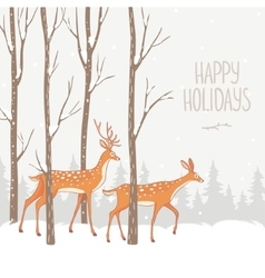 Deer winter forest vector