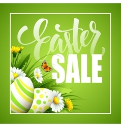 Easter greeting Lettering Flower Egg vector image