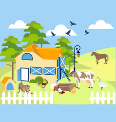 farm animals cow pig bird building horse vector image
