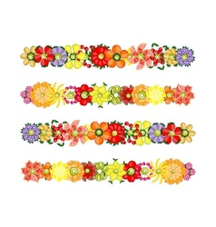 Flower design set made from fruits vector image