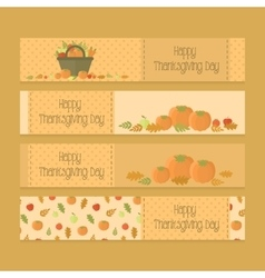 Flyers banners for Thanksgiving day with pumpkins vector image