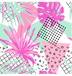 Funky floral geometric seamless pattern in trendy vector