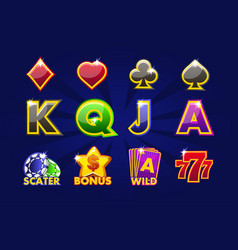 gaming icons of card symbols for slot machines or vector image