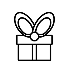Gift box wrapped ribbon bow outline vector