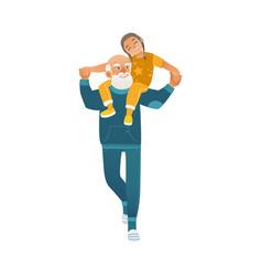 Grandparents giving grandson ride on shoulders in vector