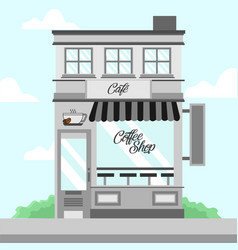 Grey coffee shop storefront building background vector