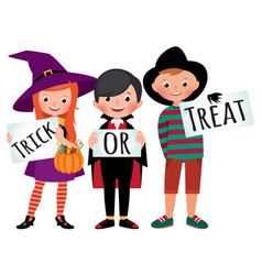 group of children in halloween party costumes vector image