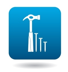 Hammer and nails icon in simple style vector image