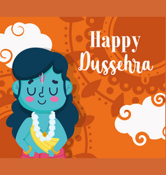 happy dussehra festival india traditional vector image