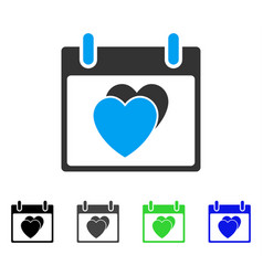 Hearts calendar day flat icon vector
