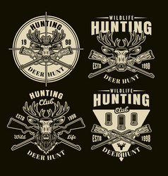 hunting set four light emblems on dark vector image