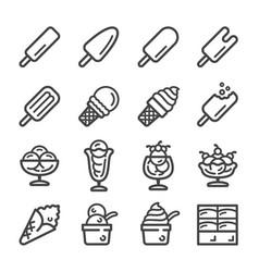 ice cream line icon set vector image