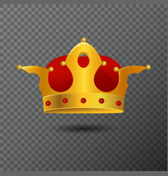 Icon of golden crown with red stones vector