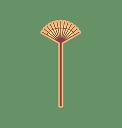 Lawn rake sign cordovan icon and mellow vector
