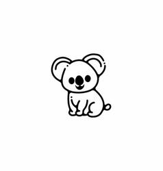 Line art style koala vector