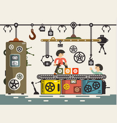 line of production with workers in factory vector image vector image