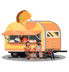 Man and woman eating mexican food vector