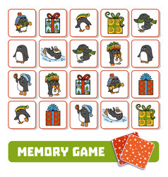 memory game for children cards with penguins and vector image
