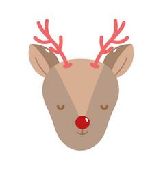 merry christmas reindeer head decoration icon vector image