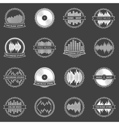 Music emblems or badges set vector image