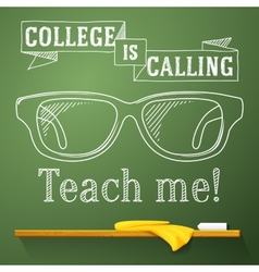 Nerd glasses on the chalkboard with college vector
