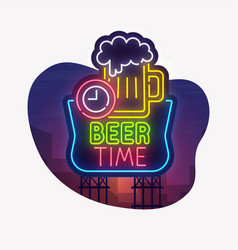 Night city sign neon beer party vector