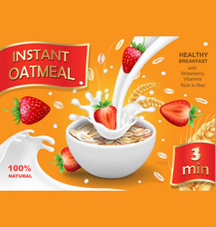 Oatmeal and strawberry oat flakes milk splashes vector