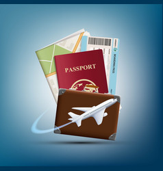 passport with ticket and map vector image