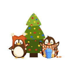 penguins in hat and scarf near christmas tree vector image