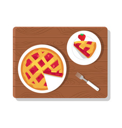Pie and plate on wooden board vector