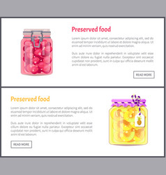 preserved fruit in glass jars set icon vector image