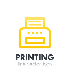 printer icon on white line style vector image
