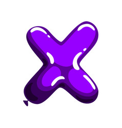 Purple letter x in form bright glossy balloon vector