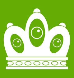 Queen crown icon green vector