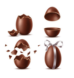 realistic chocolate eggs set easter symbol vector image