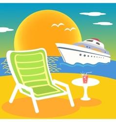 Sea beach and yacht vector