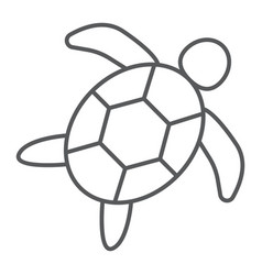 Sea turtle thin line icon animal and underwater vector