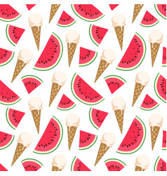 Seamless pattern with ice cream and watermelon vector