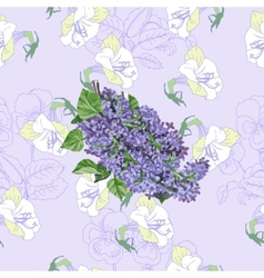 Seamless pattern with lilac and flowers vector