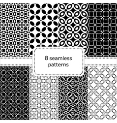 set 8 seamless geometric patterns vector image